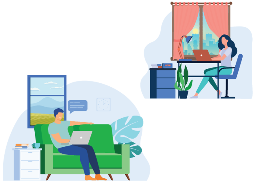 a man and woman working from home illustration